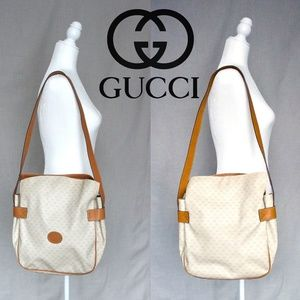 VINTAGE Authentic Gucci Canvas Messenger Bag